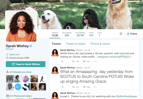 Oprah Twitter example from Twitter In 30 Minutes